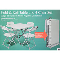 Fold & Roll Table and Four Chairs Set