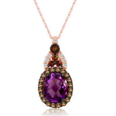 Roberto Ricci Oval Amethyst, Brown Diamond and White Topaz Pendant in 14K Rose Gold.  Ends: Jul 7, 2015 7:00:00 AM CDT