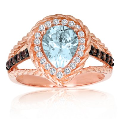 Roberto Ricci Aquamarine, White Topaz and Smokey Quartz Ring in 14K Rose Gold (Size 7).  Ends: Jul 6, 2015 1:00:00 AM CDT