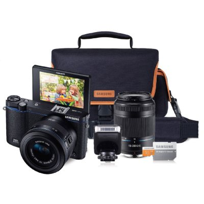 Samsung NX3300 Interchangable Lens Camera Bundle with 20-50mm Lens, 50-200mm Lens, Camera Bag, and 16GB microSD Card.  Ends: Feb 8, 2016 11:25:00 PM CST