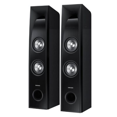 "Samsung 2.2 Channel 350 Watt SoundTower Speakers w/ Built-in 6"" Subwoofer.  Ends: Feb 12, 2016 6:00:00 AM CST"