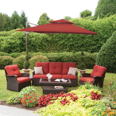 Member's Mark® 10 Foot Square Cantilever Umbrella with Premium Sunbrella® Fabric, Red.  Ends: Mar 3, 2015 5:50:00 AM CST