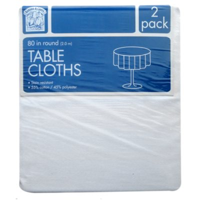 "Bakers & Chefs 2 pk. Round Tablecloth, White (80"").  Ends: Jan 26, 2015 8:45:00 AM CST"