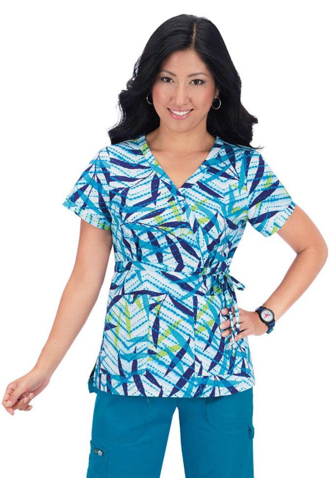 Koi Kathryn Tropical Batik print scrub top.
