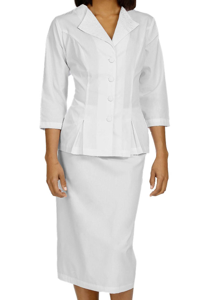 Peaches 3/4 Sleeve Embroidered Collar Dress Suit.