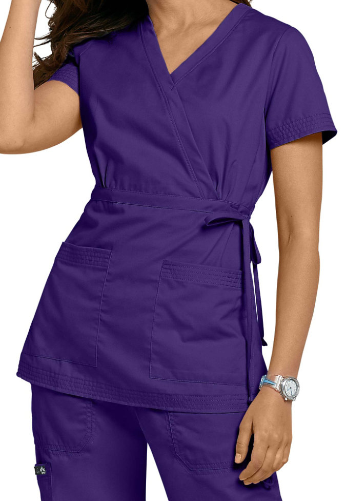 Koi Katelyn mock-wrap scrub top.