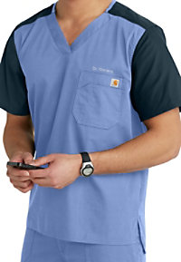 Carhartt mens contrast v-neck scrub top.