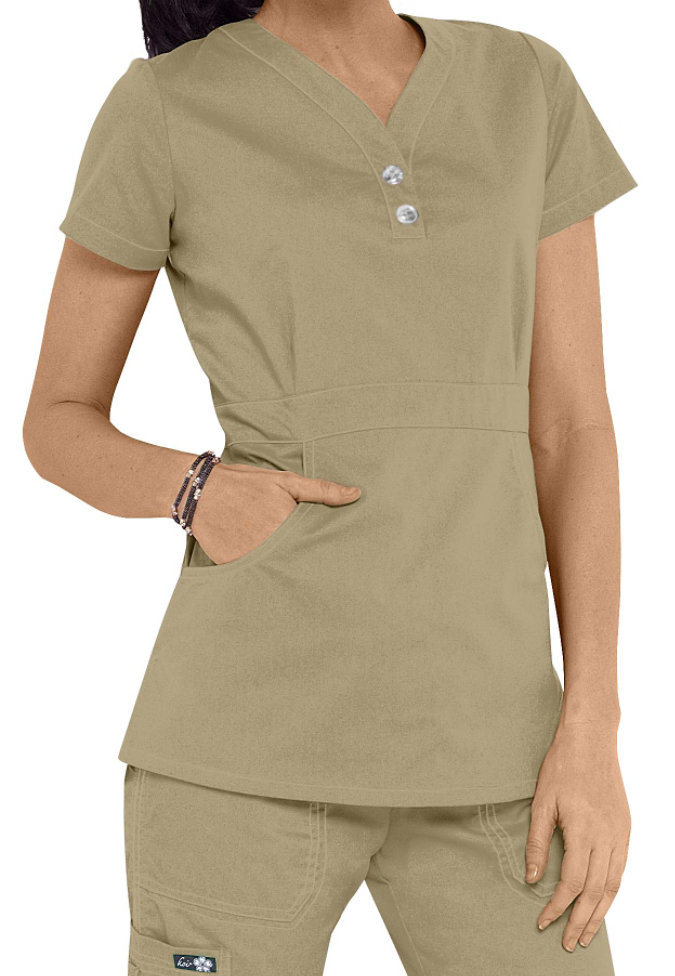 Koi Justine button trim scrub top.