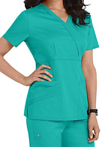 Cherokee Luxe Collection mock-wrap scrub top.