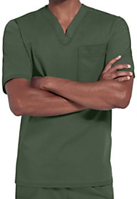 Cherokee Luxe Mens one pocket v-neck scrub top.