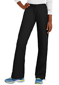 Landau elastic waist flare-leg scrub pants.