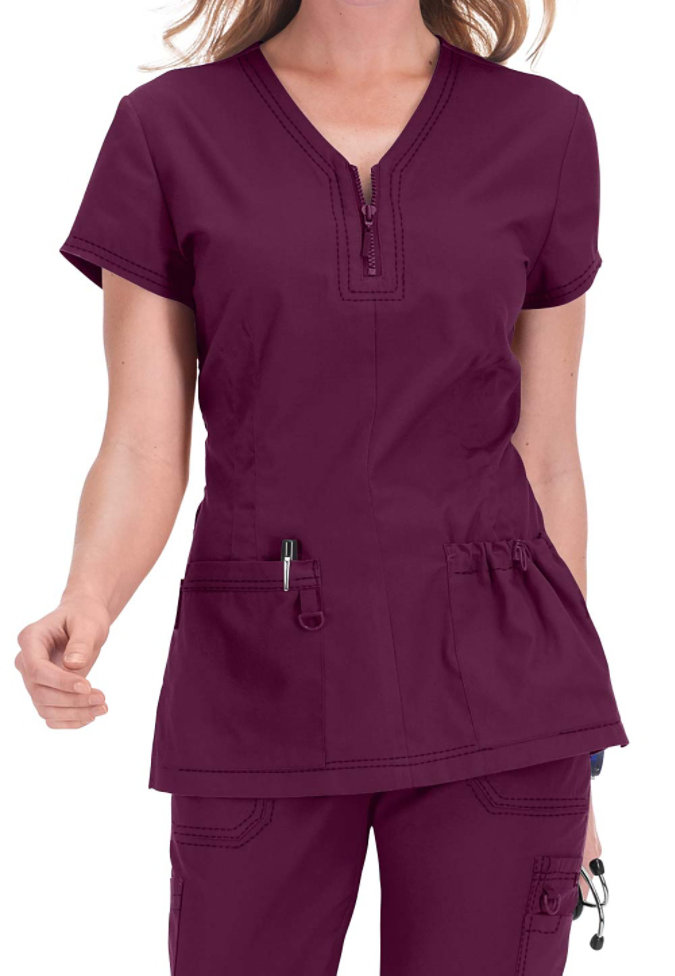 Koi Mckenzie Zip Neckline Stretch Scrub Top