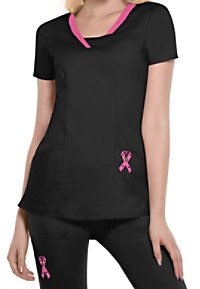 HeartSoul Breast Cancer Awareness 3-pocket print scrub top.