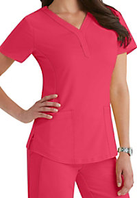 Healing Hands Purple stretch Jane v-neck scrub top.