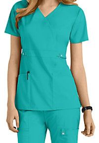 Cherokee Luxe junior fit mock wrap scrub top.