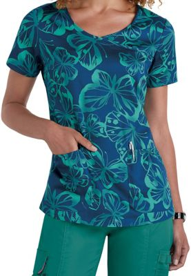 Beyond Scrubs Butterfly Y-neck Print Scrub Tops - Butterfly Peacock - S plus size,  plus size fashion plus size appare