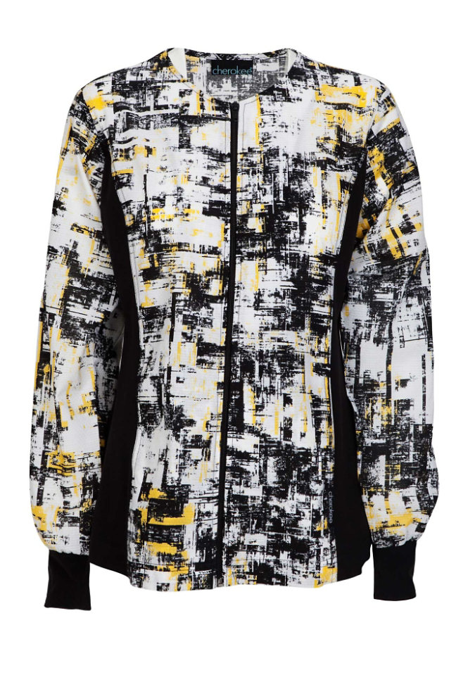 Cherokee Flexibles In the Abstract print scrub jacket.