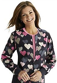 Cherokee Flexibles Dots So Heartfelt zip front jacket.