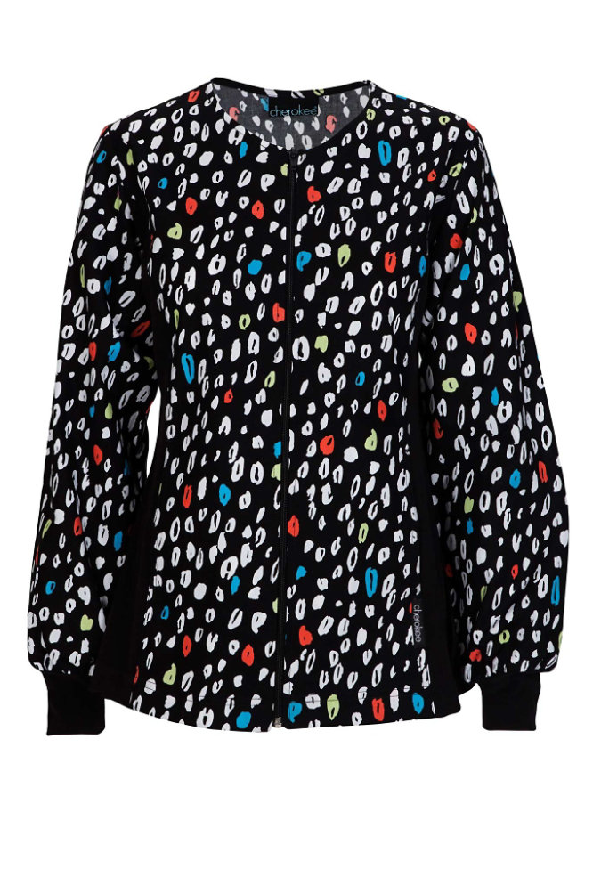 Cherokee Flexibles A Spot of Color print scrub jacket