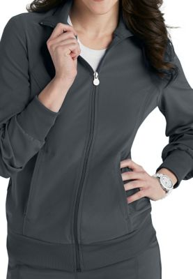 Infinity By Cherokee Zip Front Warm Up Scrub Jacket With Certainty - Pewter - 5X 2391A