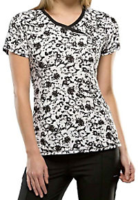 Infinity by Cherokee Positively Floral crossover print scrub top.