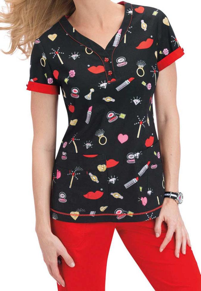 Koi Katrina Sparkle v-neck print scrub top.