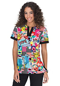 Koi Ella Pop Culture print scrub top.