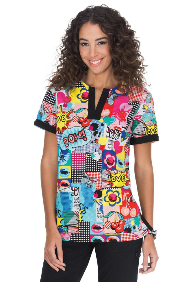 Koi Ella Pop Culture print scrub top.