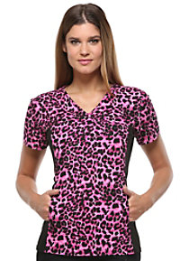Cherokee Flexibles Furry On Up print scrub top.