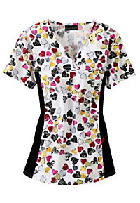 Cherokee Flexibles You Gotta Have Heart print scrub top.