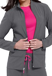 Smitten Biker Chic zip-front scrub jacket.