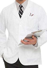 Landau uniforms mens consultation length lab coat.