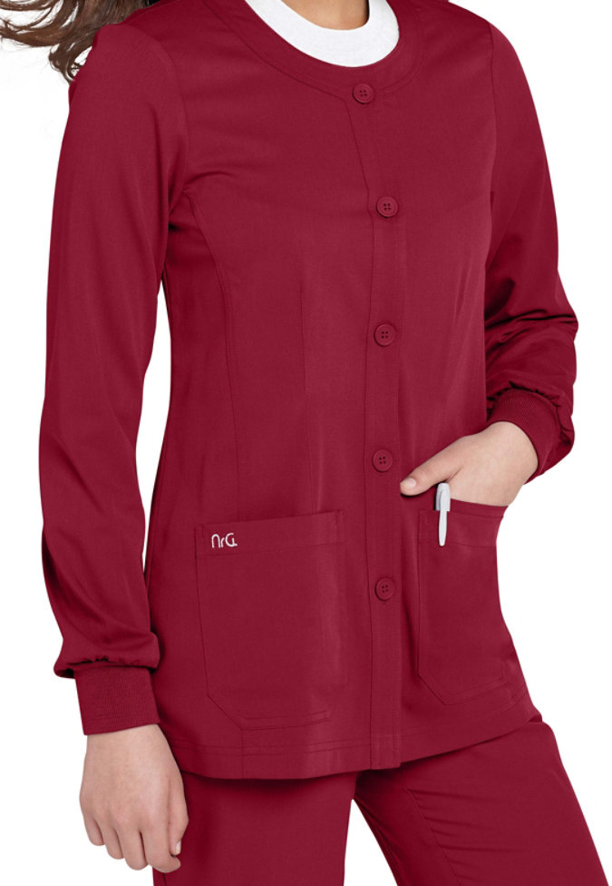 NrG by Barco round neck scrub jacket.