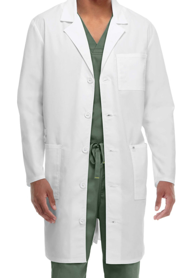 Code Happy unisex long lab coat with Certainty.