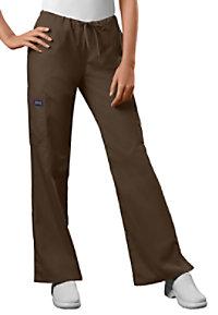 Cherokee Workwear moderate flare drawstring cargo scrub pants.