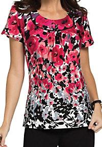 Landau Edens Trellis u-neck print scrub top.