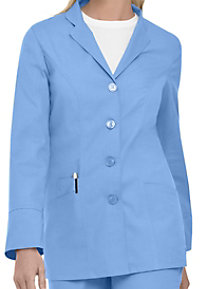 Landau Uniforms notched lapel snap front scrub jacket.