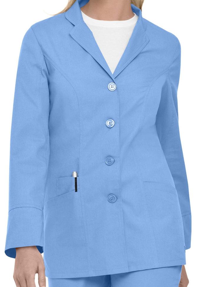 Landau Uniforms notched lapel snap front scrub jacket.