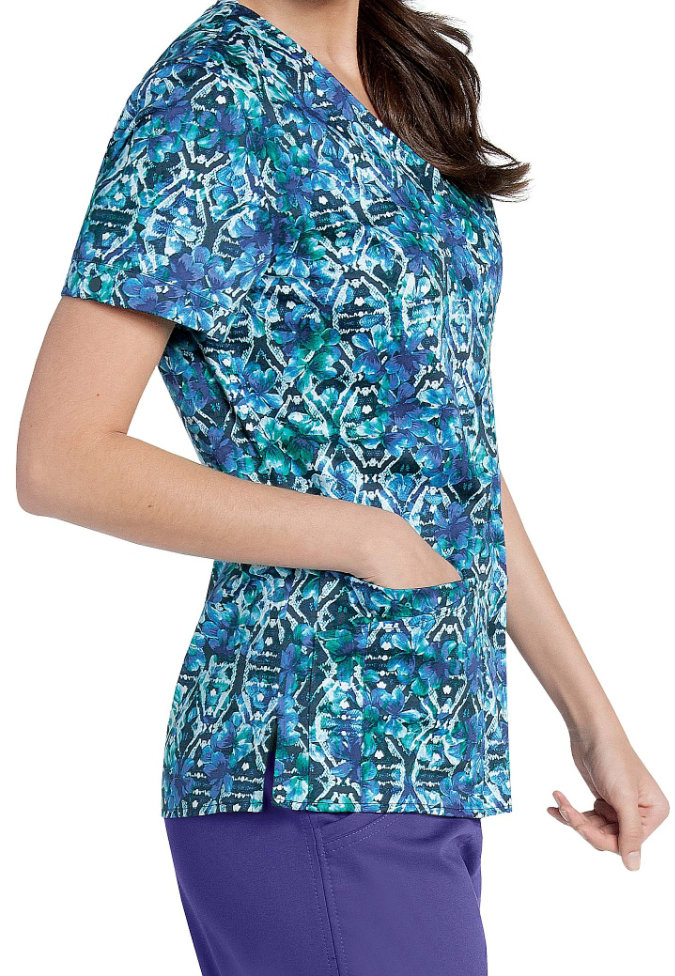Landau Smart Stretch Stained Glass snap front print scrub top.