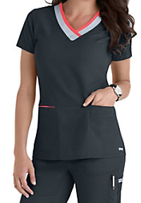 Greys Anatomy color block contrast 3 pocket scrubs top.