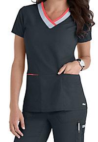 Greys Anatomy color block contrast 3 pocket scrubs top.