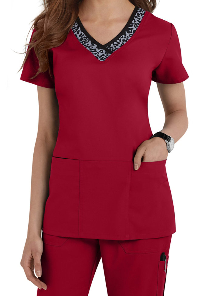 Greys Anatomy v-neck leopard trim scrub top.