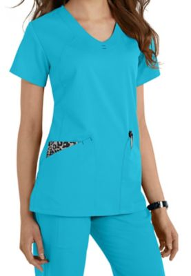 Greys Anatomy V-neck Fashion Pocket Scrub Tops - Capri/ Leopard - 2X