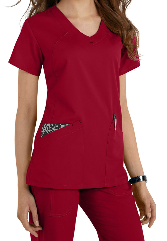 Greys Anatomy v-neck fashion pocket scrub top.