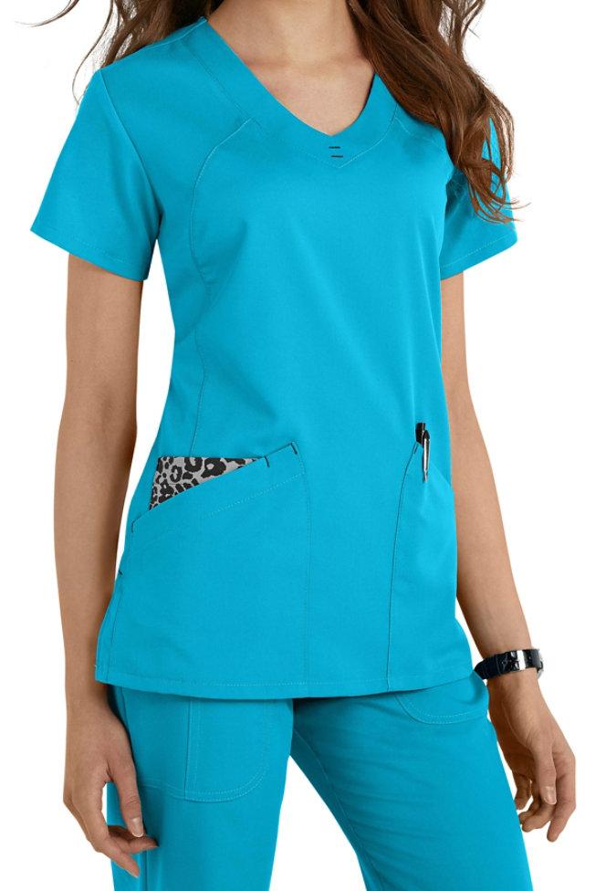 Greys Anatomy v-neck fashion pocket scrub top.
