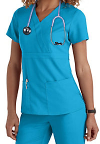 Greys Anatomy 3-pocket mock-wrap scrub top.