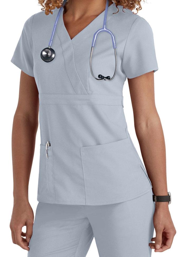 Greys Anatomy 3-pocket mock-wrap scrub top.