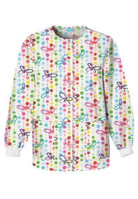 Cherokee Scrub HQ Butterfly Dots Print Scrub Jacket - Butterfly Dots - S plus size,  plus size fashion plus size appare