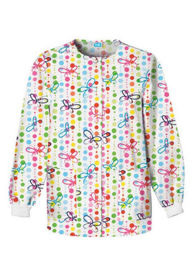 Cherokee Scrub HQ Butterfly Dots print scrub jacket.