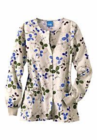 Cherokee Scrub HQ Clover Park print scrub jacket.